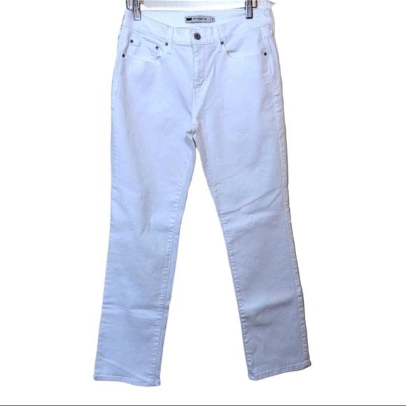 Levi's Denim - Levis White 505 Straight Leg High Waist Jeans